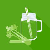 Celery juice in mason jar with celery. Flat design vector Royalty Free Stock Images