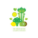 Celery Kiwi Broccoli Lemon Lime Healthy and delicious green food Royalty Free Stock Photography