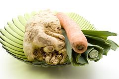 Celery and leek with carrot Royalty Free Stock Images