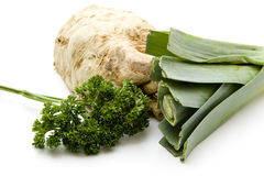 Celery and leek with parsley Stock Photos