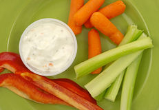 Celery peppers carrots ranch dressing Stock Photography
