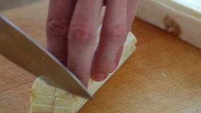 Celery root cutting; close up; stock footage