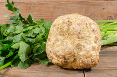 Celery root and green celery. On wooden background Royalty Free Stock Photography