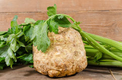 Celery root and green celery. On wooden background Stock Photo