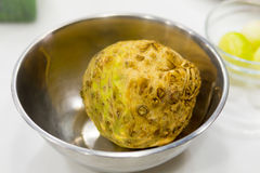 Celery root. In a metal bowl Royalty Free Stock Photo