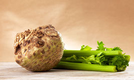 Celery root and sticks Royalty Free Stock Images