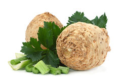 Celery root on white stock images