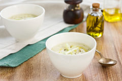 Celery and Salmon soup Royalty Free Stock Image