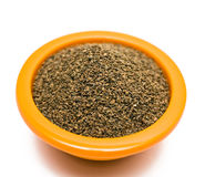 Celery Seeds. In a bowl on white background stock photo