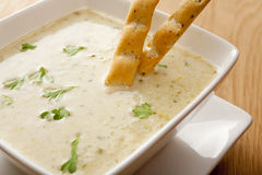 Celery Soup with Breadsticks Stock Images