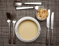Celery soup on restaurant table Stock Photo