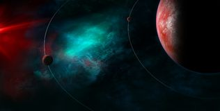 Celestial Art  small planets orbiting around big planet concept. Celestial Art, small planets orbiting around big planet. Stars and galaxies in outer space Stock Photo