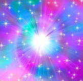 Celestial Background. Background of white stars over spiraling magenta cyan light rays Stock Photos