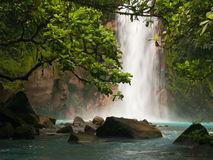 Celestial blue waterfall. In Costa Rica Stock Image