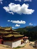 Celestial burial platform. In Langmusi Gansu royalty free stock photo