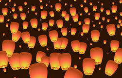 Celestial Chinese lanterns rise to the sky. Vector illustration Royalty Free Stock Image