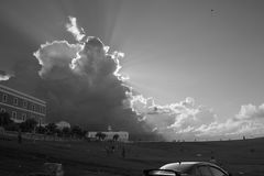 Celestial Clouds. A field outside of San Felipe del Morro in San Juan, Puerto Rico Royalty Free Stock Photos