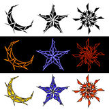 Celestial Designs In Three Styles Royalty Free Stock Image