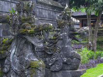 Celestial dragons guard the Pura Besakih, Bali, Indonesia. royalty free stock photos
