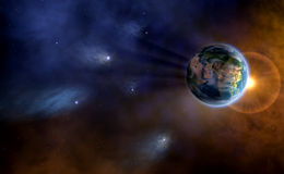 Celestial Earth. A beautiful celestial background showing earth on the backdrop of the vast space stock illustration