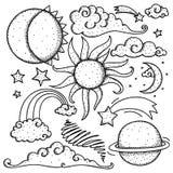 Celestial elements doodle Stock Images