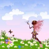 Celestial Fairy on a flower meadow Stock Photos
