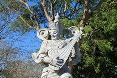 Celestial King Dhatarastra Statue brasilian Chen Tien Temple royaltyfri bild