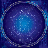 Celestial Map of The Night Sky (Blueprint) Royalty Free Stock Photography