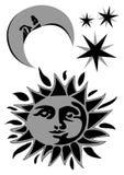 Celestial objects. Sun, moon and stars Stock Photos