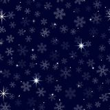 Starry night sky, snowflake, seamless 1-1. Celestial seamless background with sparkling stars glittering on dark blue sky in winter night. For wrapping Royalty Free Stock Images