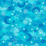 Celestial Seamless Vector. Celestial Seamless Repeat Pattern Vector Illustration with Suns, Clouds, Moon, Stars, & Sky stock illustration