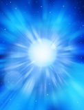 Celestial Sky Star Space Background. A blue sky background with stars, rays and shafts of light in space royalty free stock image