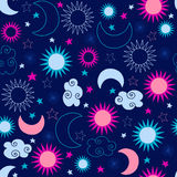 Celestial Sun Stars Pattern vector illustration