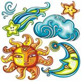 Celestial symbols 2 stock illustration