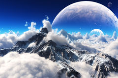 Celestial view of snow capped mountains and an alien planet. Royalty Free Stock Image