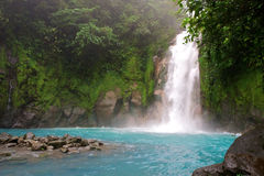 Celestial water fall. Rio Celeste in Arenal, Costa Rica Royalty Free Stock Photography
