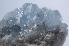 Celestine crystals gem. Light blue gem Celestine crystals royalty free stock photos