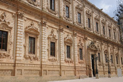 Celestines  Palace in Lecce. The baroque Celestines  Palace in Lecce was built between 1659 and 1695. The palace is a rare example of sombre baroque. Currently Stock Photography