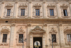 Celestines  Palace in Lecce. The baroque Celestines  Palace in Lecce was built between 1659 and 1695. The palace is a rare example of sombre baroque. Currently Royalty Free Stock Image
