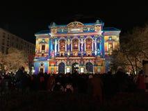 Celestins Theatre view during Festival of Lights in Lyon France. Lyon France, 8 December 2017: Celestins Theatre view during Fete des Lumieres - Festival of stock photography