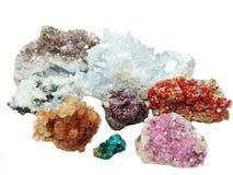 Celestite quartz aragonite vanadinite erythrite geological cryst Royalty Free Stock Photos