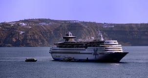 Celestyal Cruises in Santorini royalty free stock photos