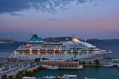 Cruise Ship. Luxury Cruise Ship Celestyal Cruises in new port Mykonos Royalty Free Stock Images