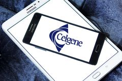 Celgene Biotechnology company. Logo of Celgene company on samsung mobile. Celgene Corporation is an American biotechnology company that discovers, develops and Royalty Free Stock Images