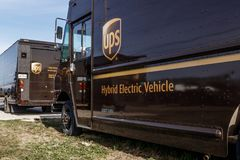 United Parcel Service hybrid electric vehicles. UPS is the World`s Largest Package Delivery Company I stock photography