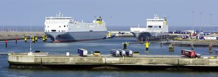 Celine and Amandine Ro-Ro cargo Transporter ships taking on their cargos