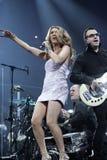 Celine Dion presteert in overleg stock fotografie