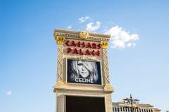 Celine Dion som presenteras på Caesars Palace Las Vegas Arkivfoton