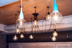 Celing design lamps. Design big edison lamps on the celing Royalty Free Stock Photography