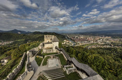 Celje castle, Slovenia. Medieval castle with the town Celje in background, Slovenia Royalty Free Stock Image